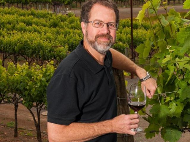 Pat Henderson in vineyards